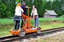 Ride on hand driven trolley